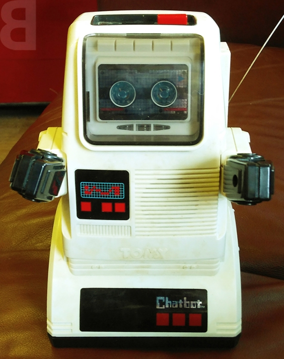 chatbot back catalogue comedy nostalgia 80s - chatbot robot toy tomy